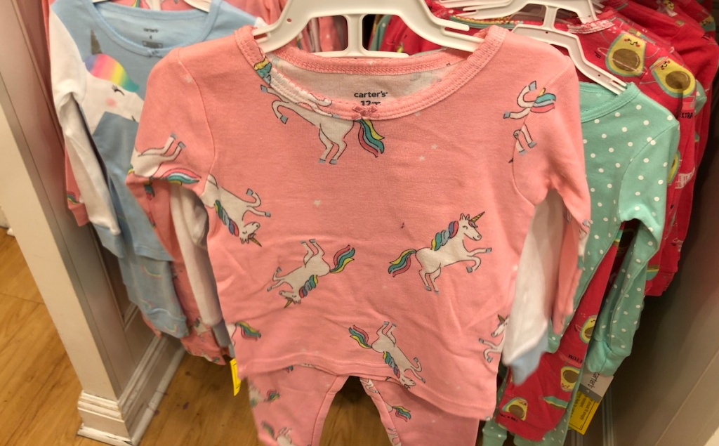 Carter's Unicorn Pajamas on hanger