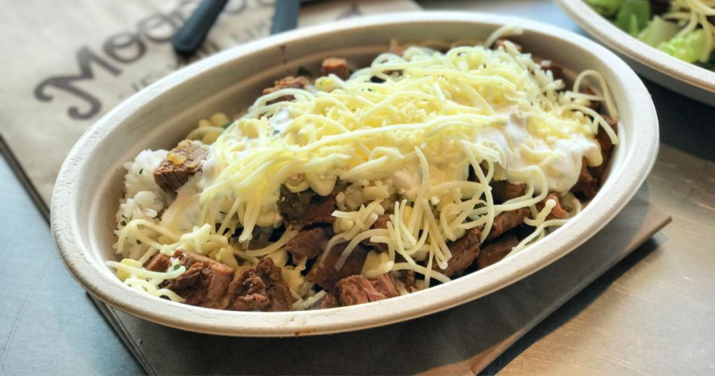 Chipotle Burrito Bowl in store with cheese on top