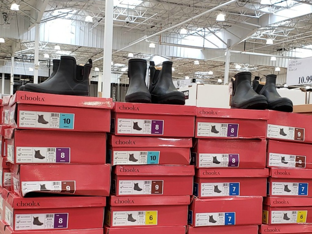 Store display of Women's rain boots Chooka