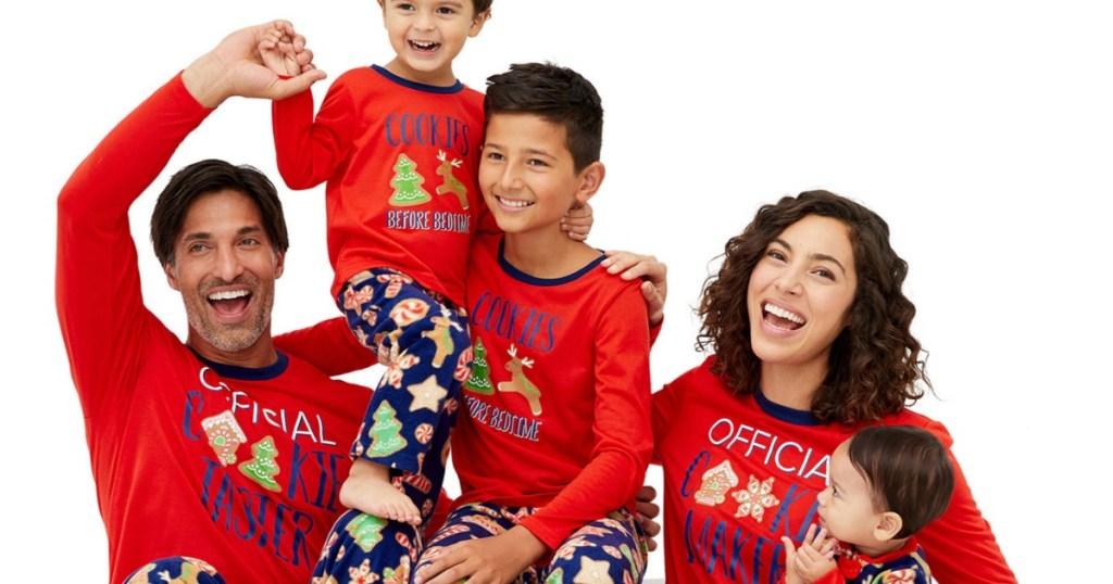 family wearing Christmas Cookie Pajamas