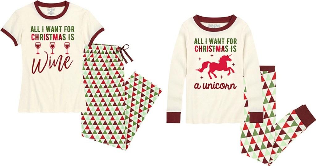 Christmas Wine and Unicorn Pajamas