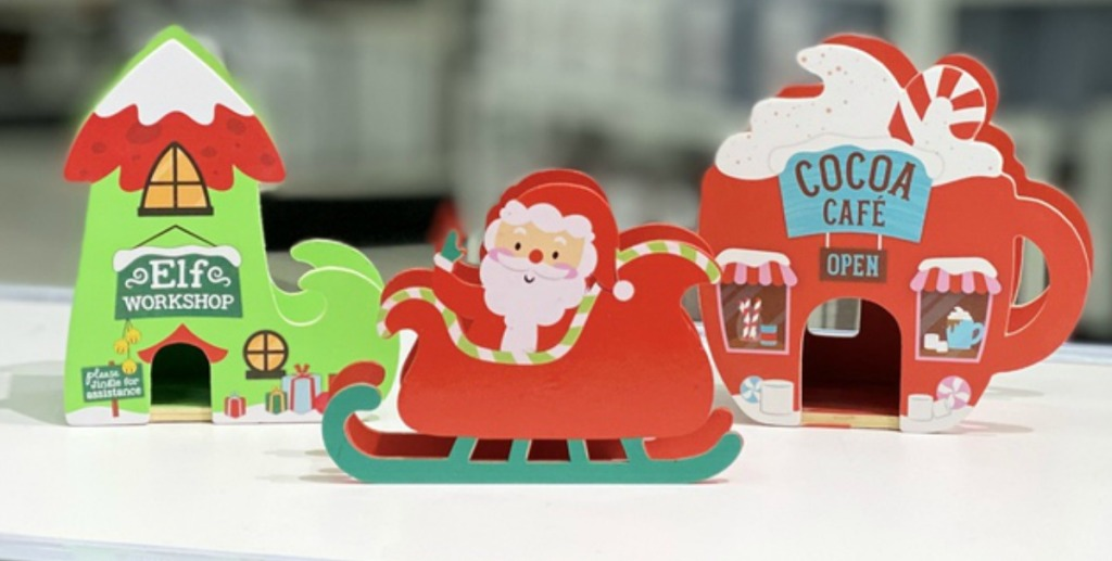 Christmas themed wooden decor pieces