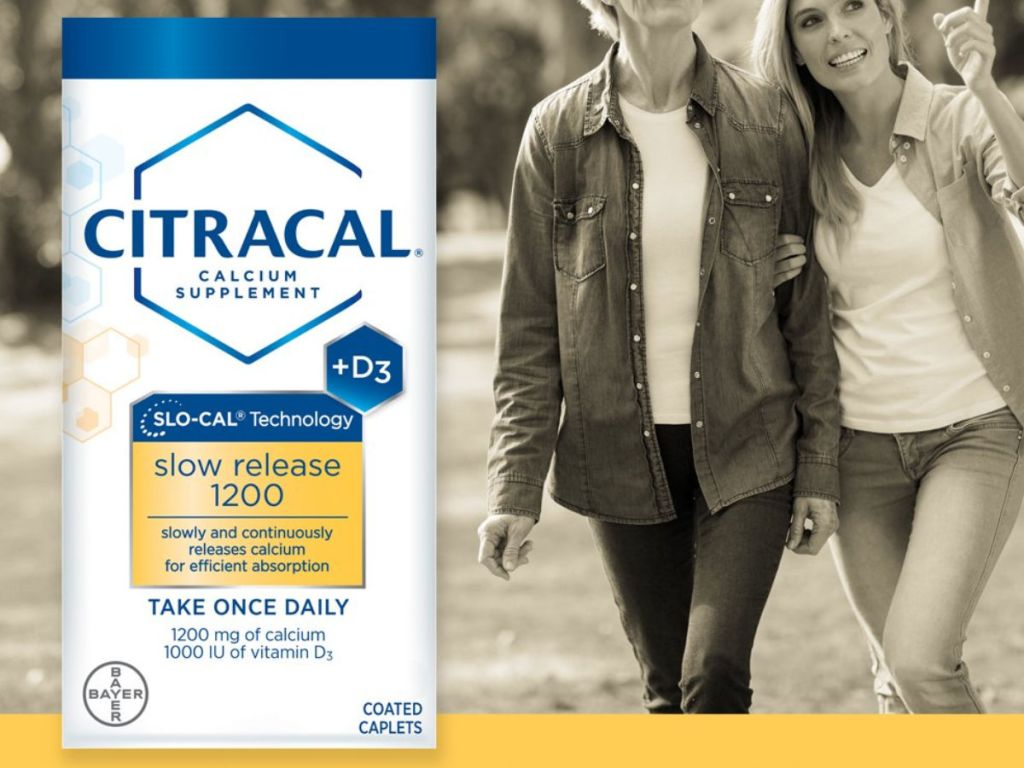 Citracal Slow Release 1200 Mg Calcium Citrate and Calcium Carbonate Blend with women walking in the background