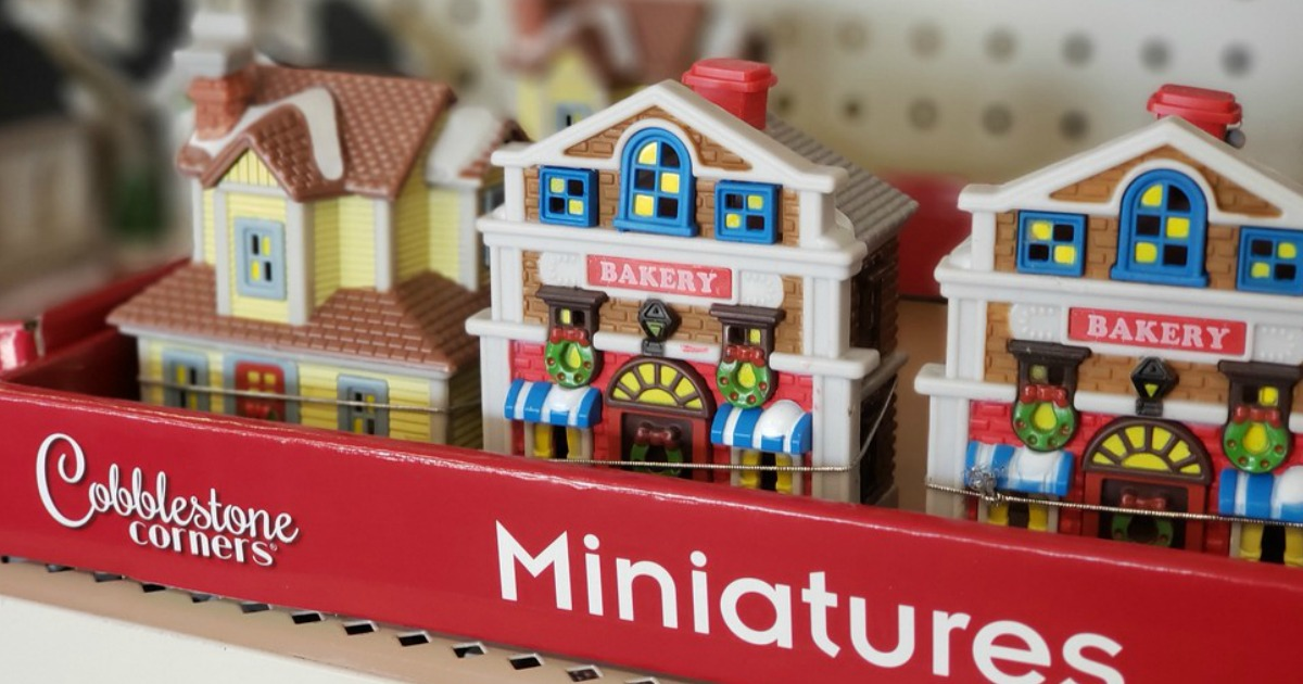 Cobblestone Corners Christmas Village on the shelves at Dollar Tree