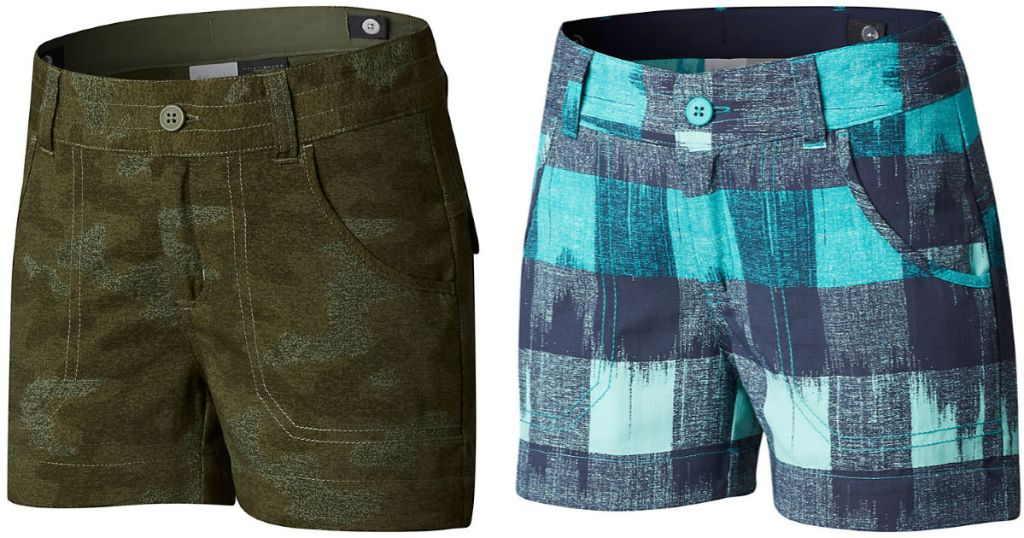 green camo or blue plaid Columbia Girls Silver Ridge Printed Shorts