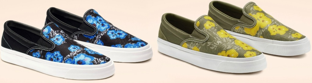 Two styles of floral slip on Converse shoes