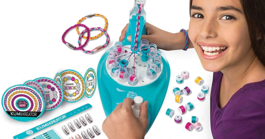 girl using machine to make friendship bracelets