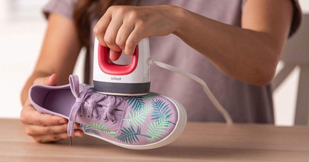 Cricut EasyPress Mini Raspberry on shoe