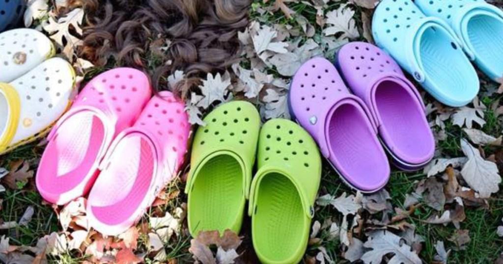 Crocs Clogs in leaves