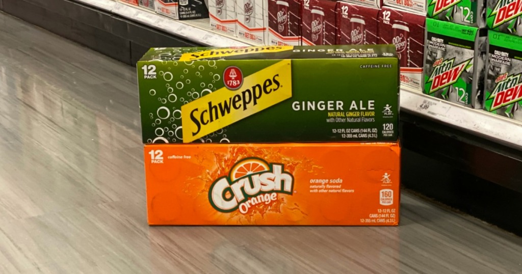 Crush and Schweppes 12 packs on Target floor