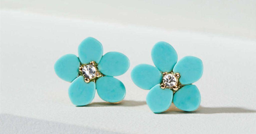 Crystal Flower Stud Earrings in Sapphire Waves