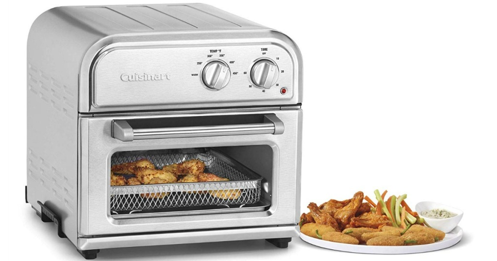 Cuisinart 2.5 air fryer next to plate of fried foods