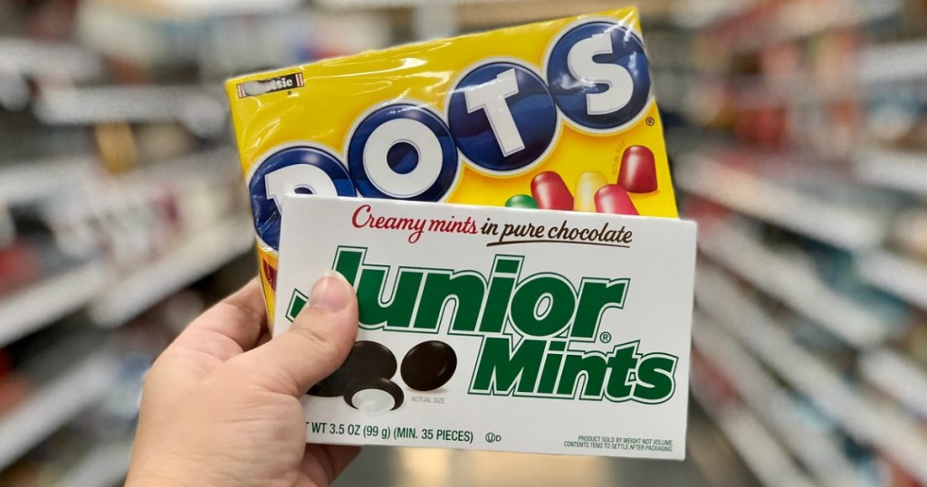 DOTS and Junior Mints theater box candy