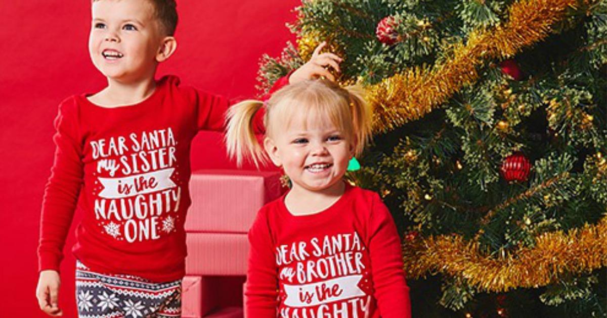 kids wearing Dear Santa Pajamas