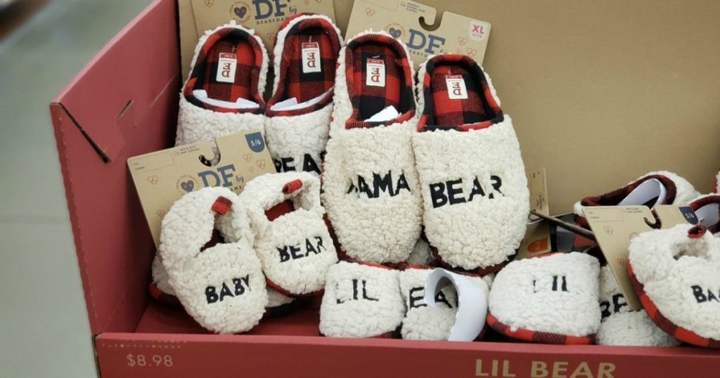 Dearfoms matching family holiday slippers