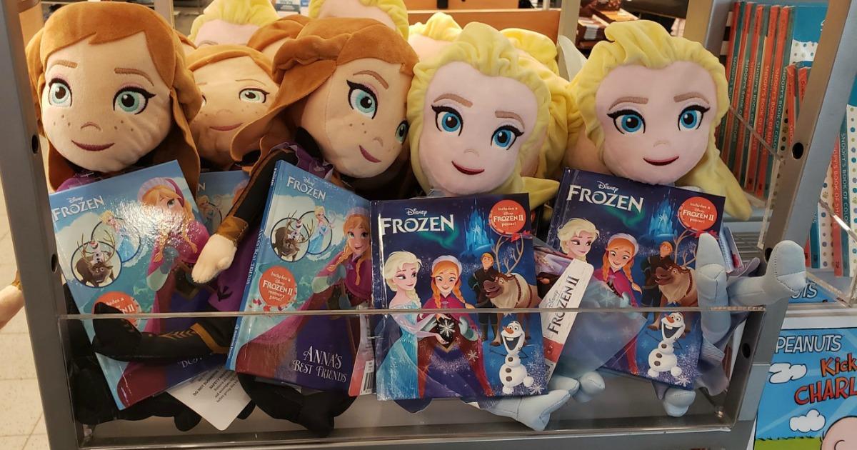 Disney Frozen Kohl's Plush Book Bundle - Elsa & Anna on display in-store