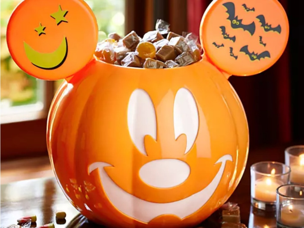 Mickey Mouse Trick-or-Treat Candy Bowl filled with caramels