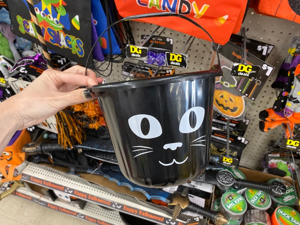 Dollar General Halloween Cat Candy Bucket in store