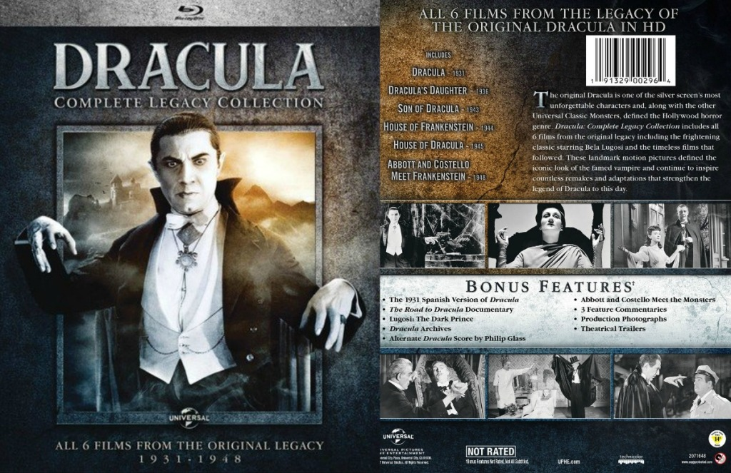 Classic Dracula move on blu ray, front and back view of case