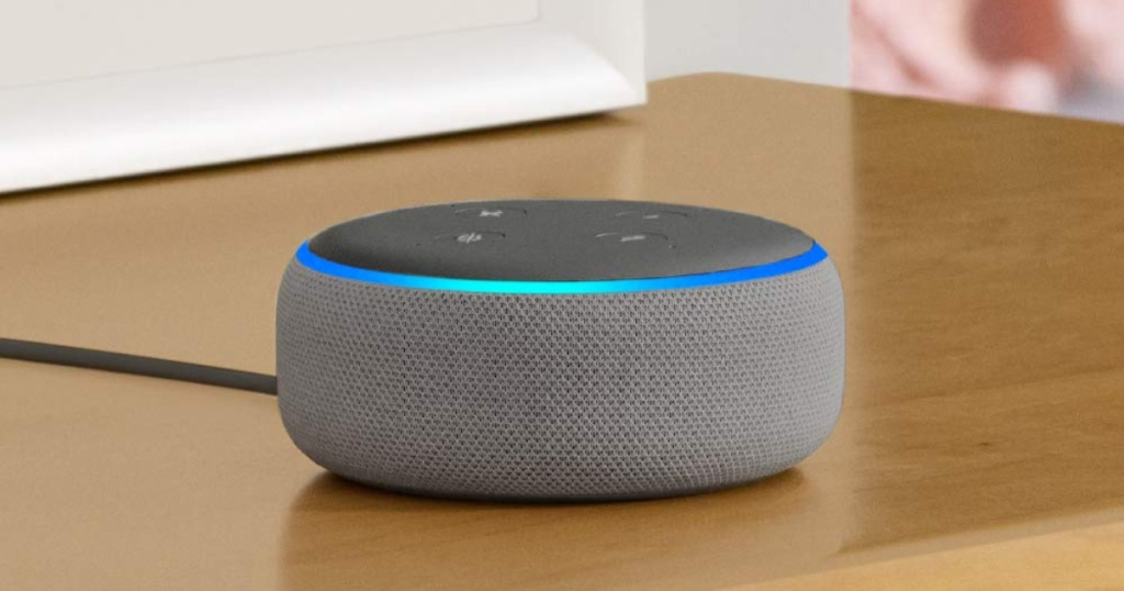 heather gray echo dot on table