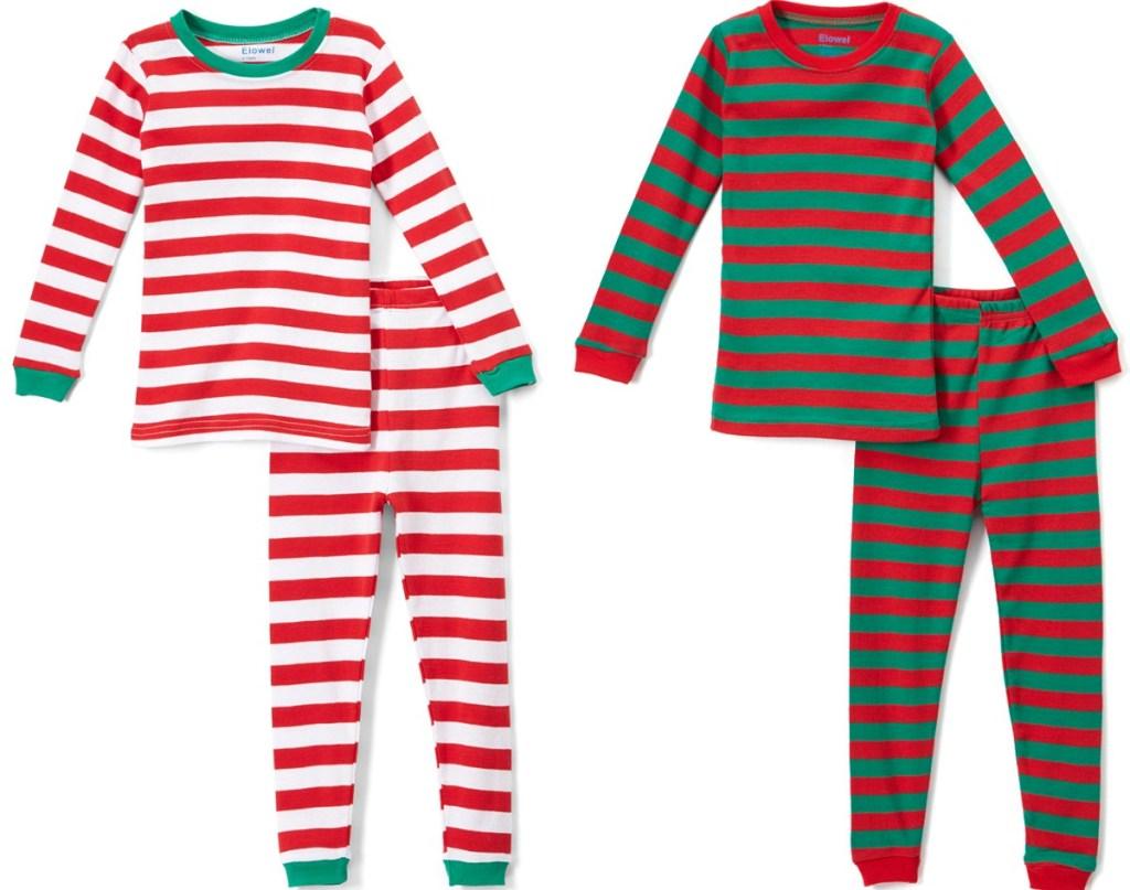 Two styles of Kids Christmas Pajamas