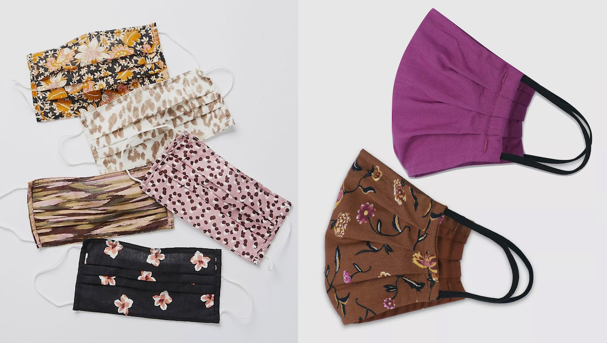 anthropologie dupe floral face masks laid on gray background