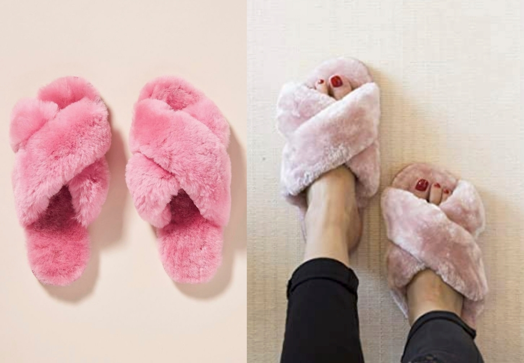 anthropologie copycat side by side of bright pink and light pink fuzzy slippers