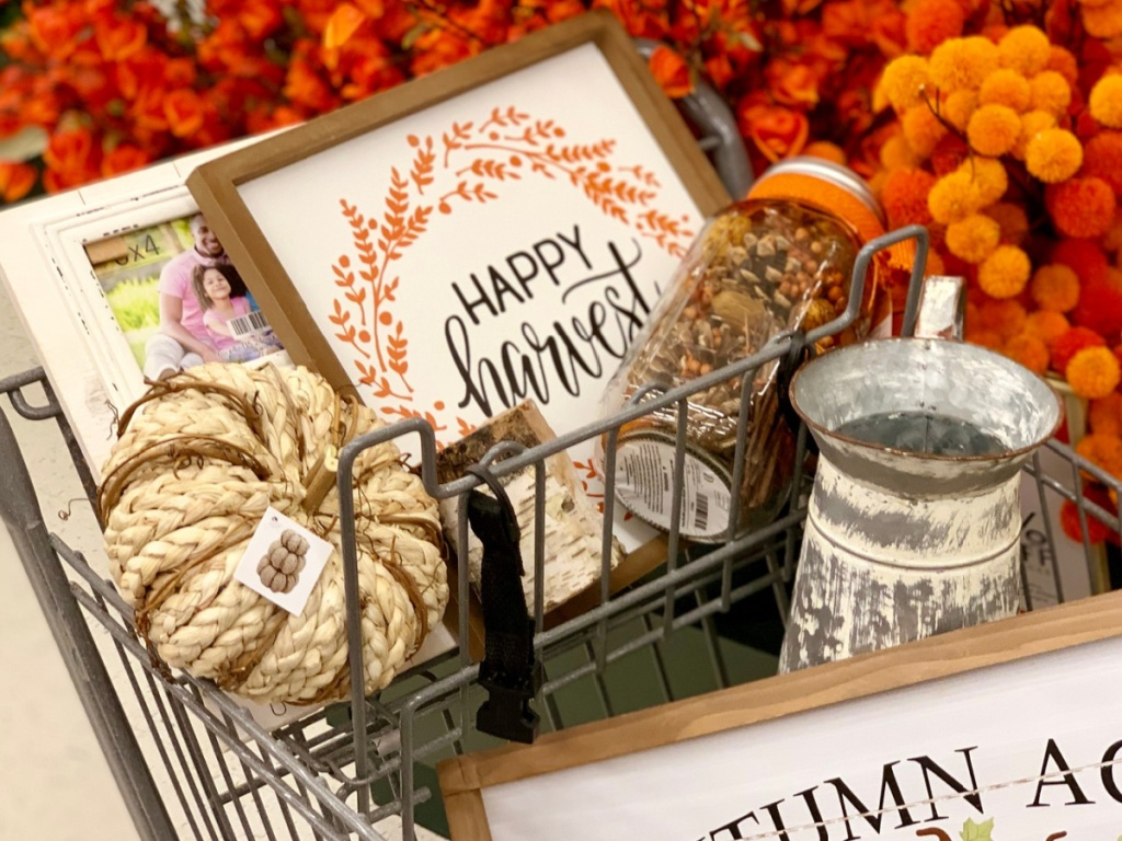 Fall Harvest Decor in Shopping Cart