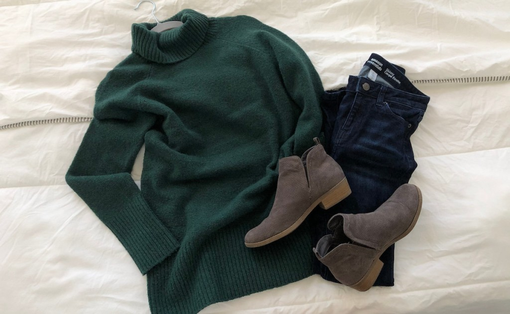 green sweater with jeans and gray booties