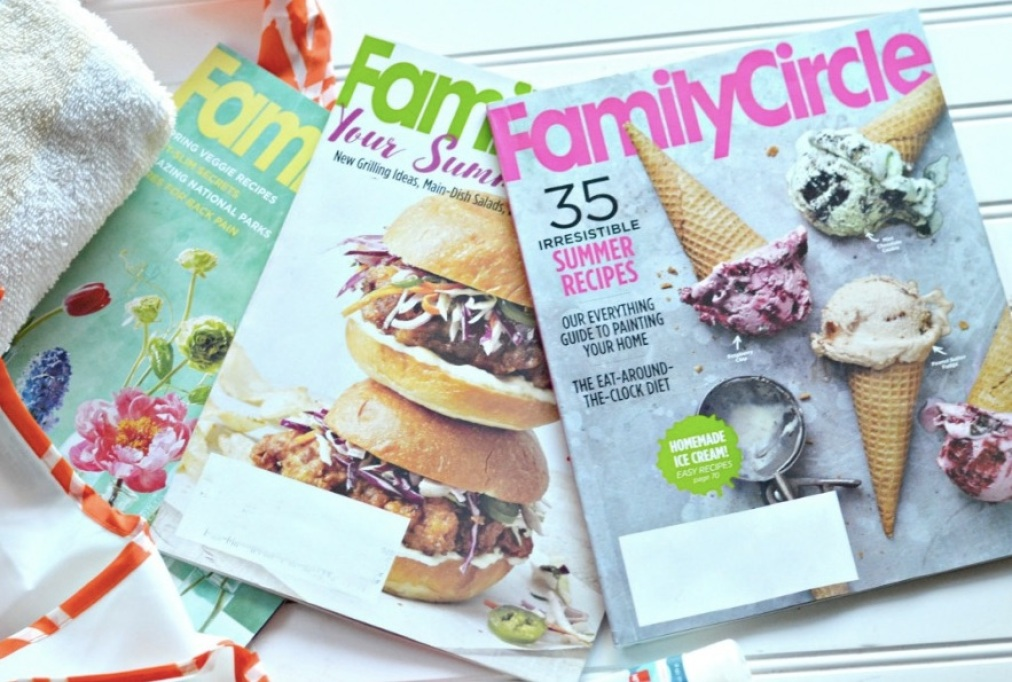 Family Circle Magazines on table