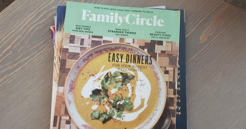 Family Circle Magazine on table