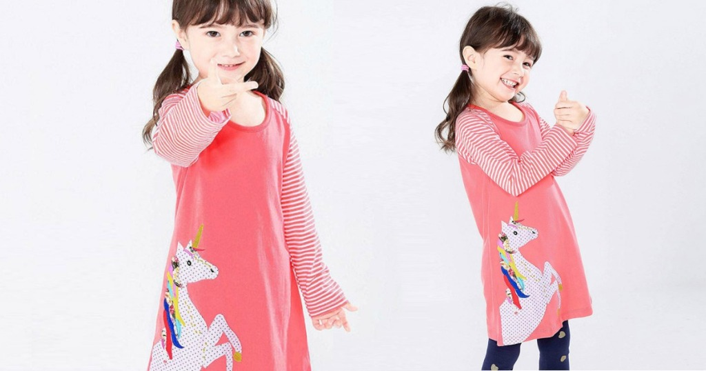 two views of little girl wearing pink dress with unicorn applique