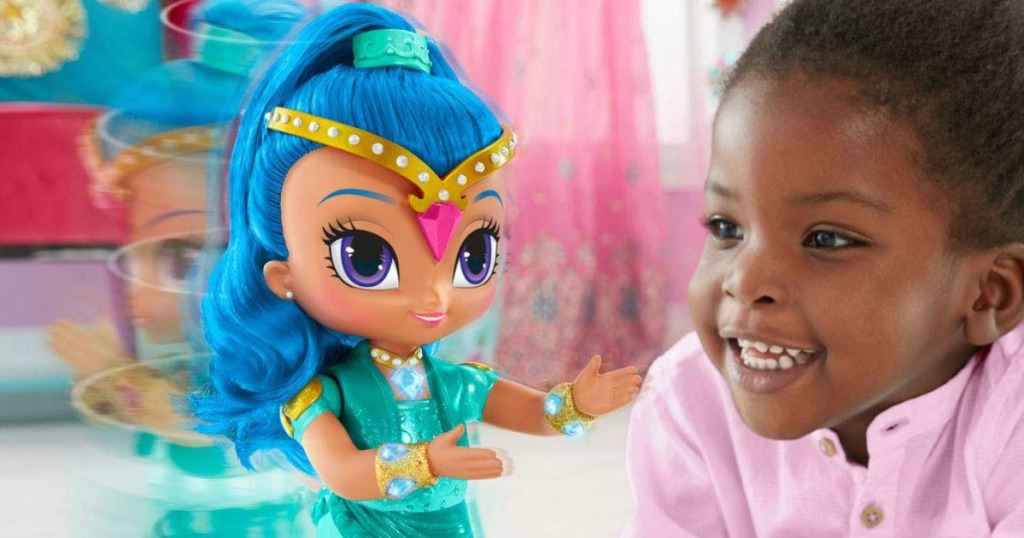 Young girl playing with a genie themed toy that spins