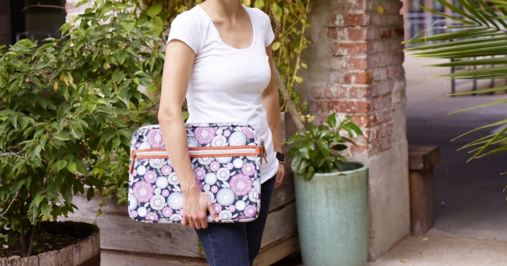 woman carrying Fit Fresh Laptop Case