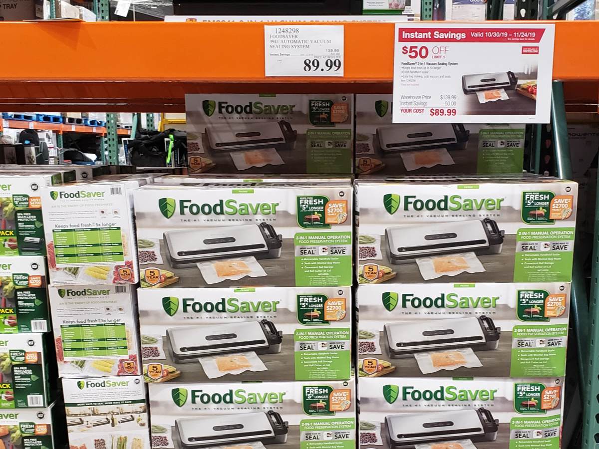 Food Savers stacked in boxes at Costco