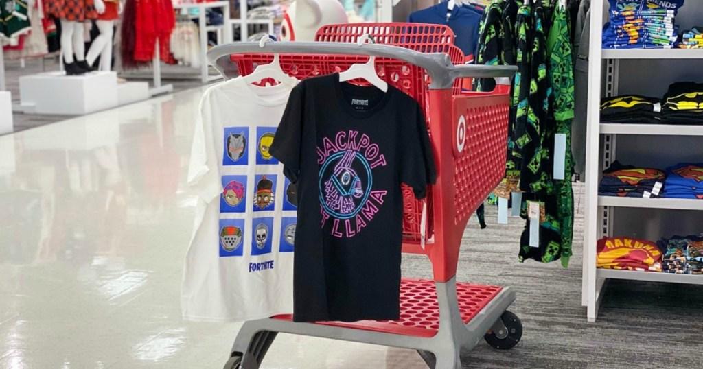 Fortnite Tees hanging on Target cart