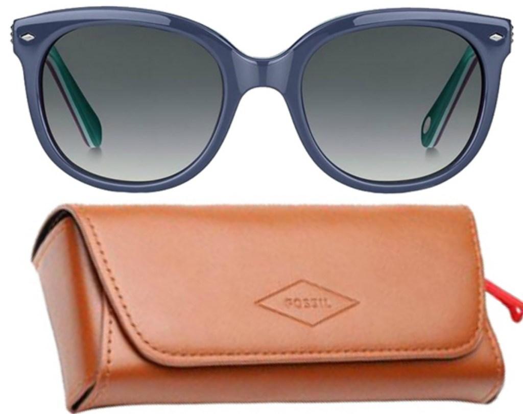 Fossil Women's Blue Soft Square Sun Glasses and case