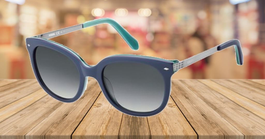 Fossil Women's Blue Soft Square Sun Glasses on Counter