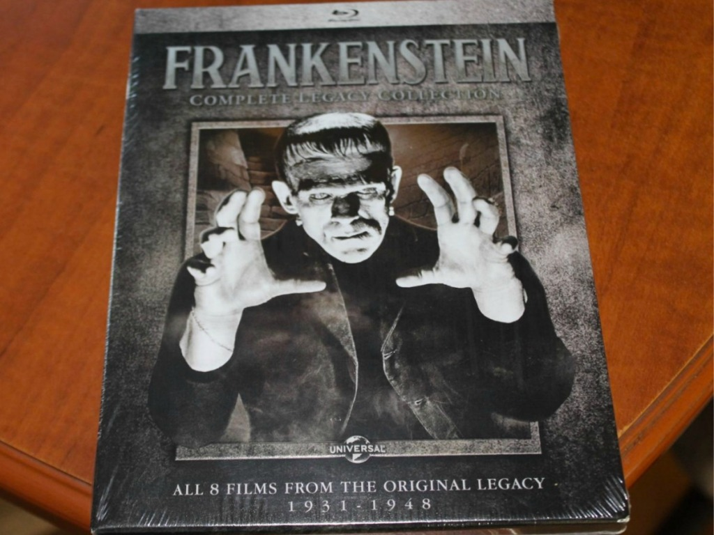 Frankenstein classic film on blu-ray in case on table