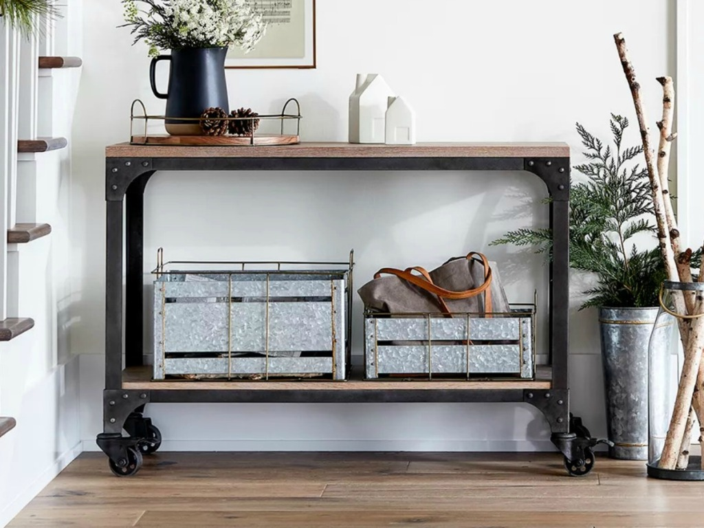 Franklin Console Table with wheels and metal detailing