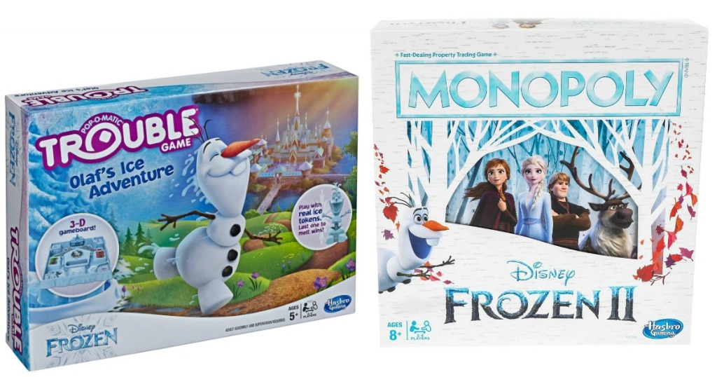 Frozen Monopoly and Trouble games boxes