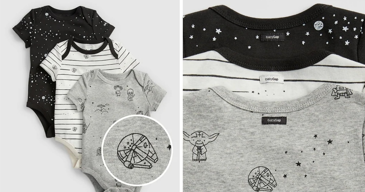 GAP Star Wars Bodysuits in black, grey & white