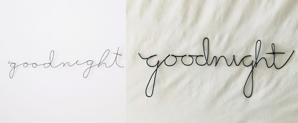anthropologie dupe wire goodnight signs with white backgrounds