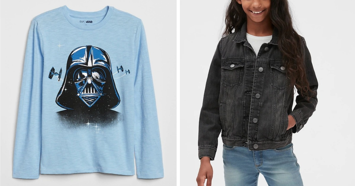long sleeve GapKids blue Star Wars Shirt and black Denim Jacket