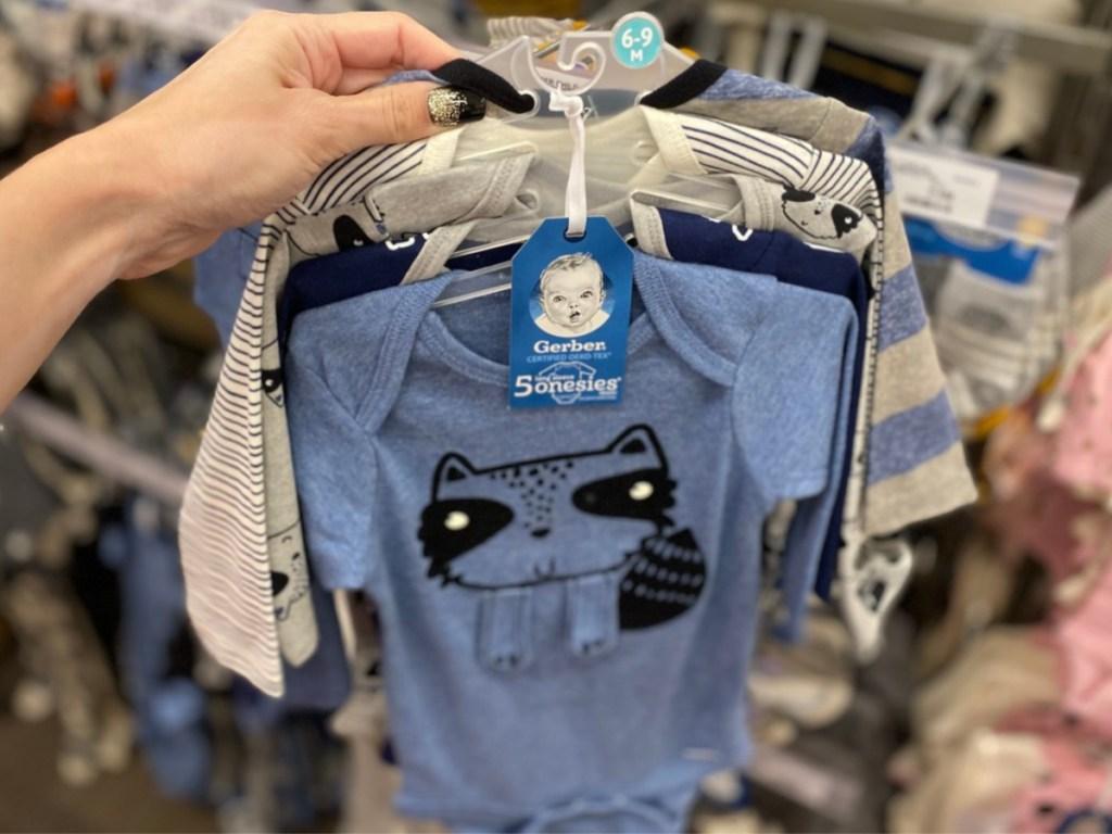 Gerber Baby Boys' 5pk Long Sleeve Raccoon Onesies