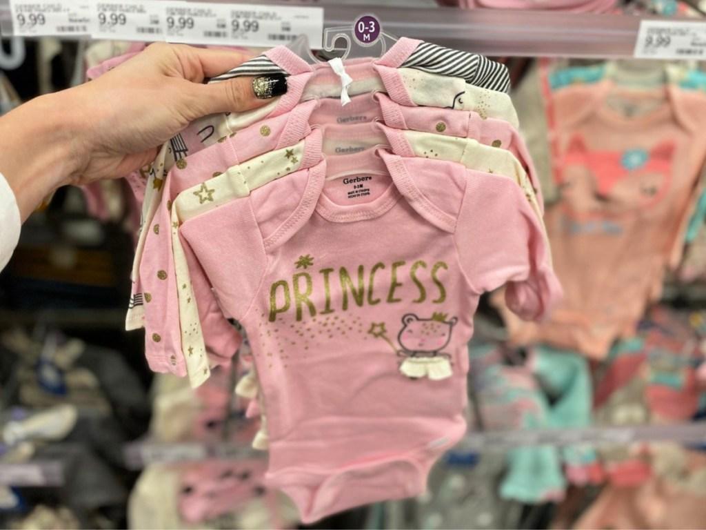 Gerber Baby Girls' 5pk Long Sleeve Princess Bodysuits
