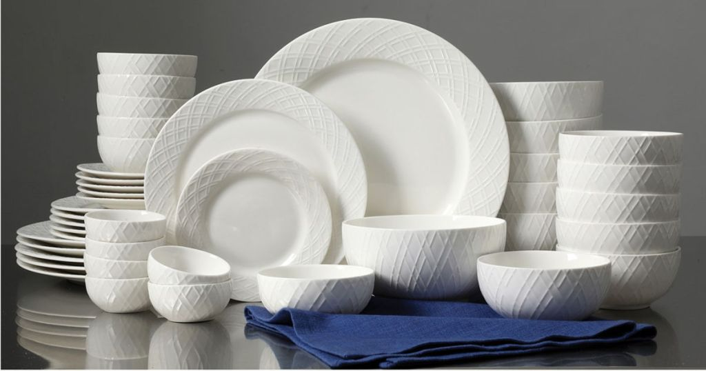 Gibson White Elements Lexington 42-Piece Dinnerware Set
