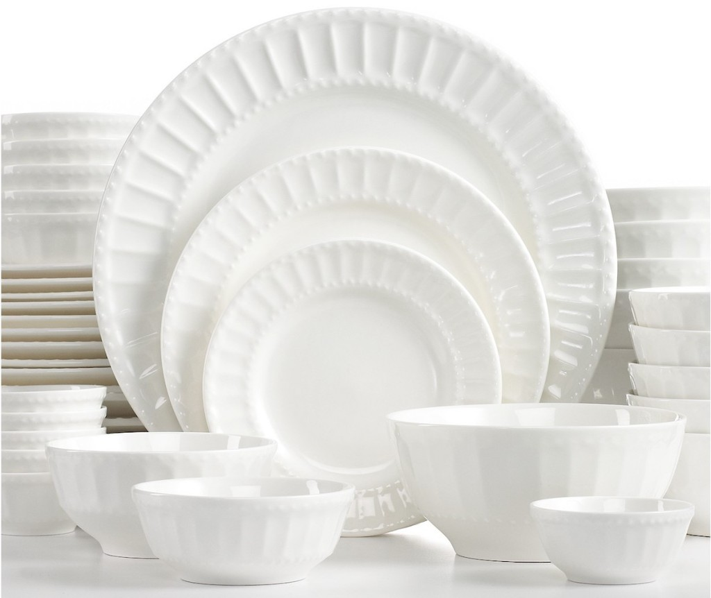 Gibson White Elements Paloma Embossed 42-Piece Dinnerware Sets