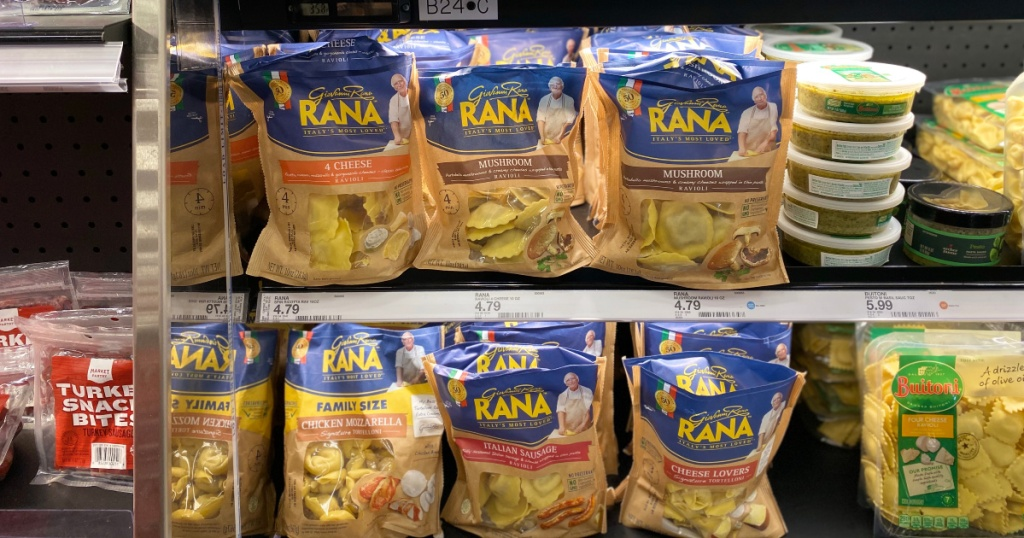 packages of giovanni rana pasta on shelf at target