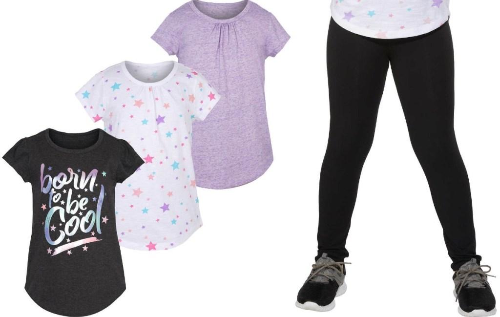 Girls three-pack tees and black leggings